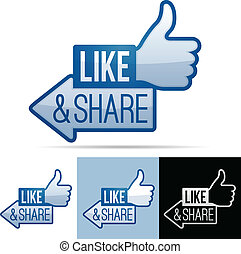 Like and Share Thumbs Up - Like and share thumbs up symbol.