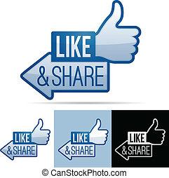 Like and Share Thumbs Up - Like and share thumbs up symbol.