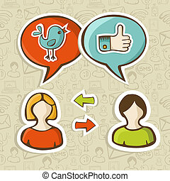 Like and twitter icons connecting people - Social media...