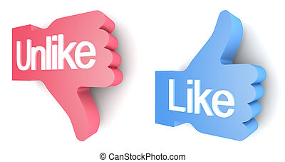 """Like"" and ""Unlike"" buttons 3d render on white background"