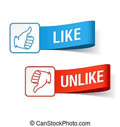 Like and unlike symbols vector illustration