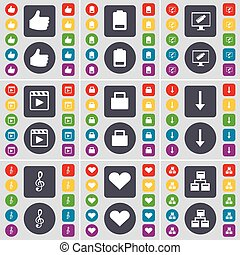 Like, Battery, Monitor, Media player, Suitcase, Arrow down, Clef, Heart, Network icon symbol. A large set of flat, colored buttons for your design. Vector