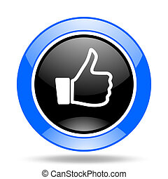 like blue and black web glossy round icon