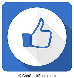 like blue flat icon thumb up sign