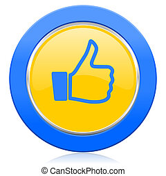 like blue yellow icon thumb up sign