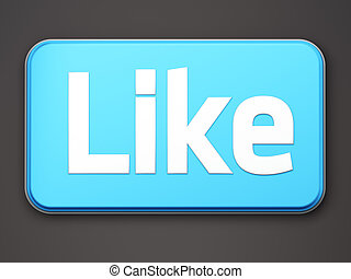 """like"", botón, 3d, render, blanco"