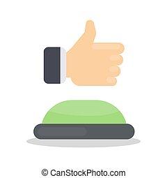 like., botón, verde