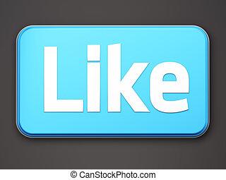 """like"", bouton, 3d, render, blanc"