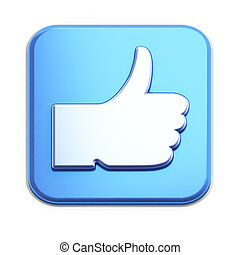 """""""Like"""" button 3d render on white"""
