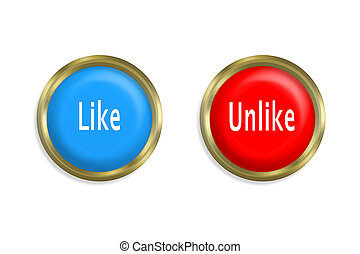 Like button and red on white background
