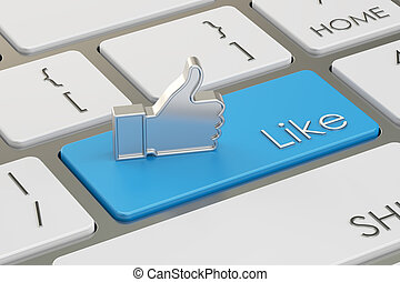 Like Button on the keyboard, 3D rendering