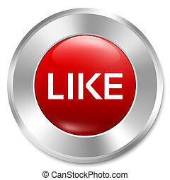 Like button. Rate icon. Red round sticker.