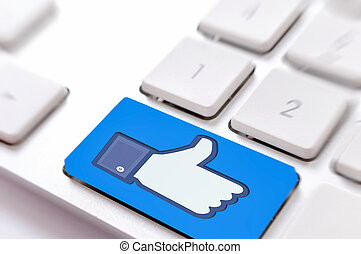 Like button sign on the keyboard
