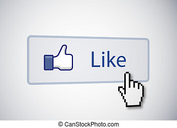 Like button with mouse cursor and thumb icon