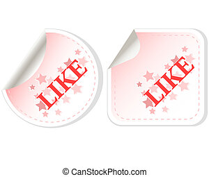 Like button vector sticker isolated on white
