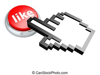 Like button with hand cursor