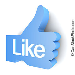 """Like""  buttons 3d render on white background"