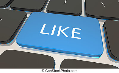 Like Computer Laptop Keyboard Button Social Media 3d Illustration