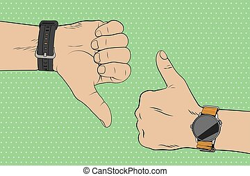 Like dislike hand gestures. Concept of success and defeat in pop