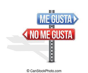 like, dislike Spanish sign