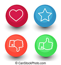 like, dislike, voting and rating, icon set, hand with thumb up and down, star and heart symbol in color glossy circle buttons with shadow