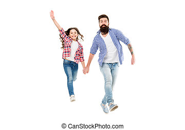 Like father like daughter. Bearded father and small girl child in casual hipster style holding hands. Happy father and adorable little daughter walking together. My father is my friend
