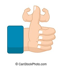 Like Fitness. Strong Thumbs up with big muscles. Powerful hand. Symbol all right. Success gesture
