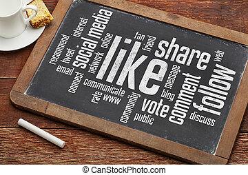 like, follow, share word cloud - social media concept - like...
