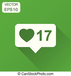 Like, follower, comment bubble icon. Business concept internet pictogram. Vector illustration on green background with long shadow.