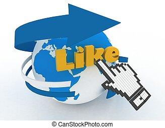"""like""., globo, mano, cursore, terra, parola"