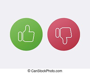 Like green and dislike red. Disapproval and success positive negative comments reviews.
