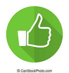 like green flat icon thumb up sign