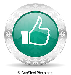 like green icon, christmas button, thumb up sign