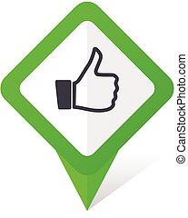Like green square pointer vector icon in eps 10 on white background with shadow.