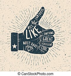 Like. Hand drawn vector illustration. - Like. Hand drawn ...