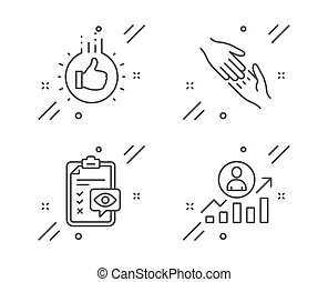 Like hand, Eye checklist and Helping hand icons set. Career ladder sign. Thumbs up, Optometry, Give gesture. Vector