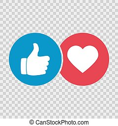 Like hand icon and heart icon. Vector