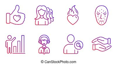 Like hand, Shipping support and Women headhunting icons set. Vector