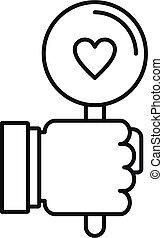 Like heart feedback icon, outline style