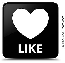 Like (heart icon) black square button