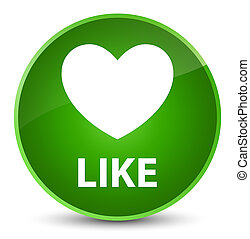 Like (heart icon) elegant green round button