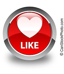 Like (heart icon) glossy red round button