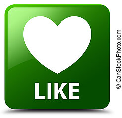 Like (heart icon) green square button