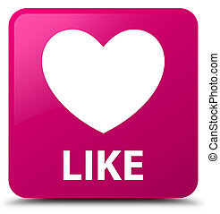 Like (heart icon) pink square button