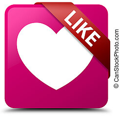 Like (heart icon) pink square button red ribbon in corner