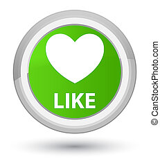 Like (heart icon) prime soft green round button