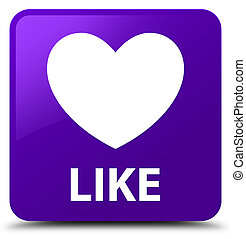 Like (heart icon) purple square button