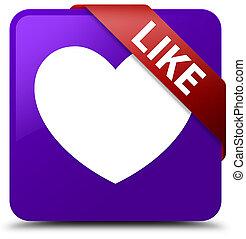Like (heart icon) purple square button red ribbon in corner