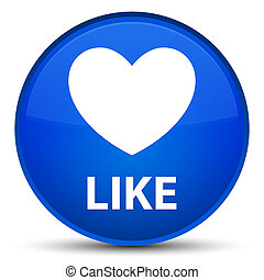 Like (heart icon) special blue round button