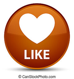 Like (heart icon) special brown round button
